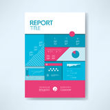 Annual report cover template with business icons and elements. Pie chart, graphs, infographics layout. Royalty Free Stock Image
