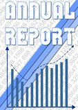 Annual report cover template with small numbers and blue graph with rising trend curve Stock Images