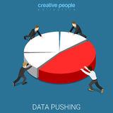 Annual report data push diagram pie chart flat isometric vector Stock Photography