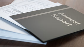 Annual Report. Folders with paper close-up Stock Images