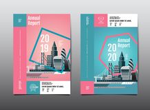 Annual report 2019,2020 ,future, business, template layout desig. Annual report 2019,2020 , business template layout design, cityscape, cover book. vector royalty free illustration
