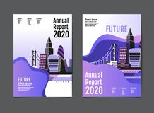 Annual report 2019,2020 ,future, business, template layout desig. Annual report 2019,2020 , business template layout design, cityscape, cover book. vector stock illustration