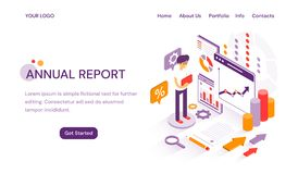 Annual Report online website template for delivering year end analytics and finances with copy space for text and vector illustration