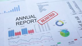 Annual report rejected, hand stamping seal on official document, statistics stock video