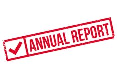 Annual Report rubber stamp. Grunge design with dust scratches. Effects can be easily removed for a clean, crisp look. Color is easily changed Stock Images