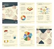Annual report template. Report business company presentation banner flyers pages booklet vector design. Publication annual report, infographics geometric royalty free illustration