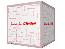 Annual Review Word Cloud Concept on a 3D cube Whiteboard Stock Photo