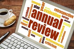 Annual review word cloud on laptop stock images