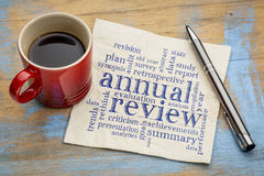 Annual review word cloud on napkin Royalty Free Stock Image