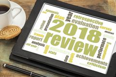 2018 annual review word cloud on tablet. 2018 year review word cloud on a digital tablet with a cup of tea royalty free stock photos