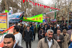 Annual revolution day in Esfahan, Iran. Esfahan, Iran - February 2016 - Annual Revolution day manifestation on the street of Esfahan for celebrate Islamic Stock Images