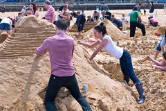 Annual RIBA Sandcastle Challenge in Margate, UK Royalty Free Stock Photos