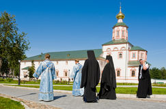 The annual sacred religious procession of Icon of Our Lady of Iv Stock Images