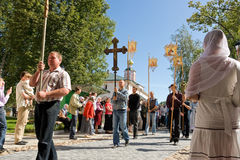 The annual sacred religious procession of Icon of Our Lady of Iv Royalty Free Stock Image