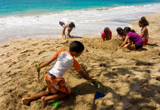 An annual sandcastle competition in the windward islands Stock Image