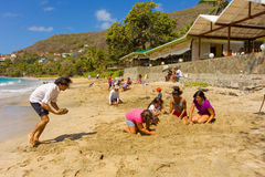 An annual sandcastle competition in the windward islands Stock Images