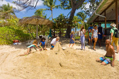 An annual sandcastle competition in the windward islands Royalty Free Stock Photos