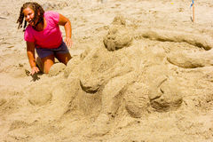 An annual sandcastle competition in the windward islands Royalty Free Stock Photo
