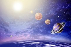 Annual small parade of the planets. From 4 planets of the solar system on background star and sun stock illustration