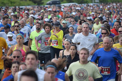 Annual Spring Lake 5k Race. Spring Lake, NJ 07762 - May 24, 2014. Runners bunched up at the beginning of the annual Spring Lake 5k race. Editorial Use Only Royalty Free Stock Images