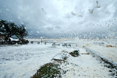 Annual spring storm and hurricane in Uruguay Royalty Free Stock Images