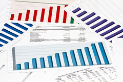 Annual statement raport on charts and graphs Stock Photo