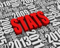 Annual Statistics. STATS 3D text surrounded by calendar dates. Part of a series Royalty Free Stock Photo