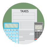 Annual tax calculation. Calculate vector tax icon, illustration of tax service app icon Stock Image