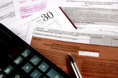 Annual tax , PIT. Annual settlement with the tax office Royalty Free Stock Photo