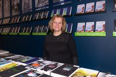 Annual traditional Vilnius Book Fair `20 years after`. The publisher`s staff presents and sells publishing books stock image