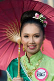 The annual Umbrella Festival in Chiang Mai. CHIANG MAI, THAILAND - JANUARY 15: Woman in traditional costume during the annual Umbrella festival in Bo Sang Stock Photos