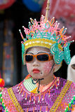 The annual Umbrella Festival in Chiang Mai. CHIANG MAI, THAILAND - JANUARY 15: Young boy in traditional costume during the annual Umbrella festival in Bo Sang Stock Images