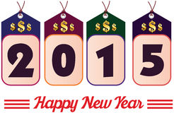 2015 annual year. Happy new year. 2015 year colorful sales tag with golden dollar sign royalty free illustration