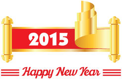 2015 annual year . Happy new year. 2015 in golden curled corner Royalty Free Stock Images
