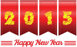 2015 annual year. Happy new year. 2015 year in Red ribbon Stock Images