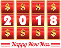 2018 annual year . Happy new year. 2018 year number illust. Ration of casino machine slot jackpot with dollar signs Royalty Free Stock Photos