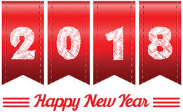 2018 annual year . Happy new year. 2018 year in Red ribbon Royalty Free Stock Photos