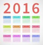 Annuale 2016 del calendario nella progettazione piana Fotografie Stock Libere da Diritti