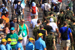 An annually recurring large walking event. Where several nationalities take part in the Netherlands royalty free stock image