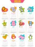 Annuellement calendrier 2016 créatif pour la célébration de nouvelle année Photographie stock