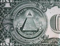 Annuit coeptis座右铭和上帝的眼睛 票据美元一 免版税库存照片