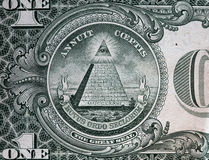 Annuit coeptis motto and the Eye of Providence. One dollar bill royalty free stock photos
