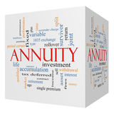 Annuity 3D cube Word Cloud Concept Stock Images