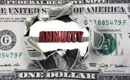Annuity and dollar Stock Image