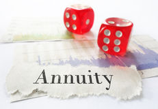 Annuity headline. Annuity newspaper headline on stock market charts with dice Royalty Free Stock Photos