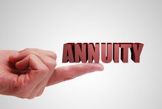 Annuity investment concept. Annuity text balancing on a finger stock images