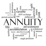 Annuity Word Cloud Concept in black and white. With great terms such as investment, rollover, income and more Stock Images