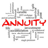 Annuity Word Cloud Concept in red caps Royalty Free Stock Photos