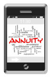 Annuity Word Cloud Concept on Touchscreen Phone. Annuity Word Cloud Concept of Touchscreen Phone with great terms such as investment, income, portfolio and more Stock Images
