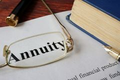 Annuity written on a paper. Finance concept Royalty Free Stock Images
